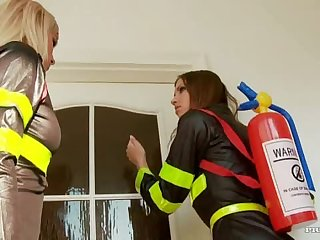 Lesbian Firefighters Toying Each Other's Tight Assholes In Uniform
