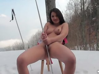 Kinky European Brunette Masturbates Outdoors With a Ski Pole