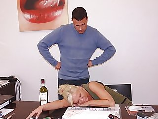 Drunk and Passed Out Blonde Office Slut Gets Fucked Hardcore Style