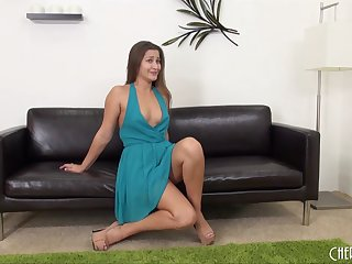 Dani Daniels flirting and masturbating in a pretty dress