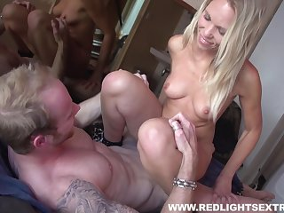 Fit hooker in pretty pink lingerie strips and fucks the client