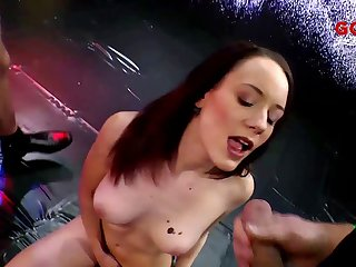 Skinny cum sluts fucked by horny guys and covered in hot semen