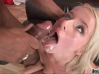 Dudes love it when babes suck their hard cocks after a facial