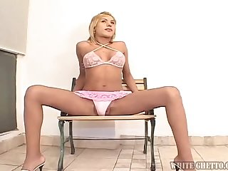 Blonde shemale Gia B gets her ass pounded by two kinky dudes