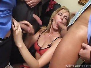 Mature blond lady gets fucked by three dude at the conference