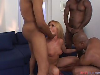 Sizzling hottie Natalli gets balled by three black males