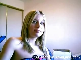 Blonde Talking Dirty & Stripping On Her Webcam